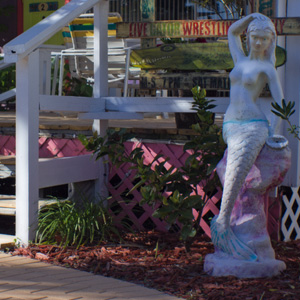 The mermaid welcomes you to your cottage.
