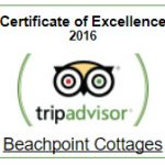 Beachpoint Cottages Certificate of Excellence 2016